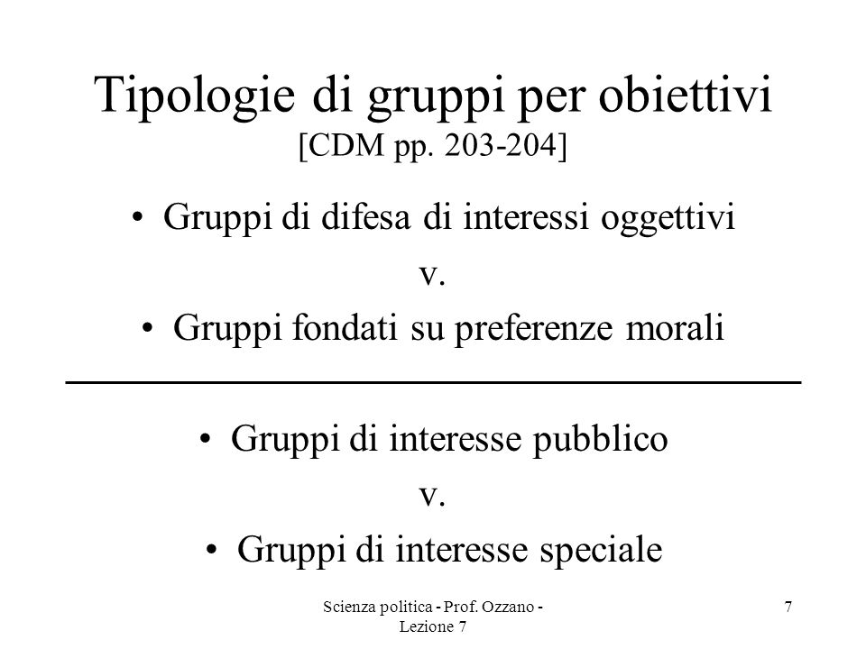 Tipologie di gruppi per obiettivi [CDM pp. 203-204]